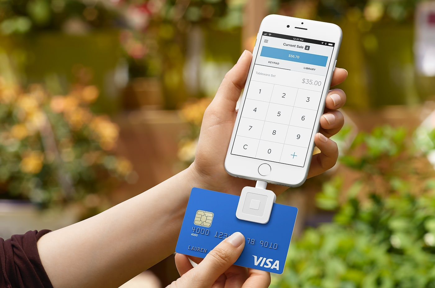Square credit card reader with an iPhone