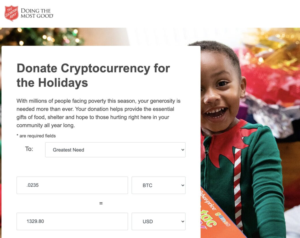 Cryptocurrency donation page for the Salvation Army