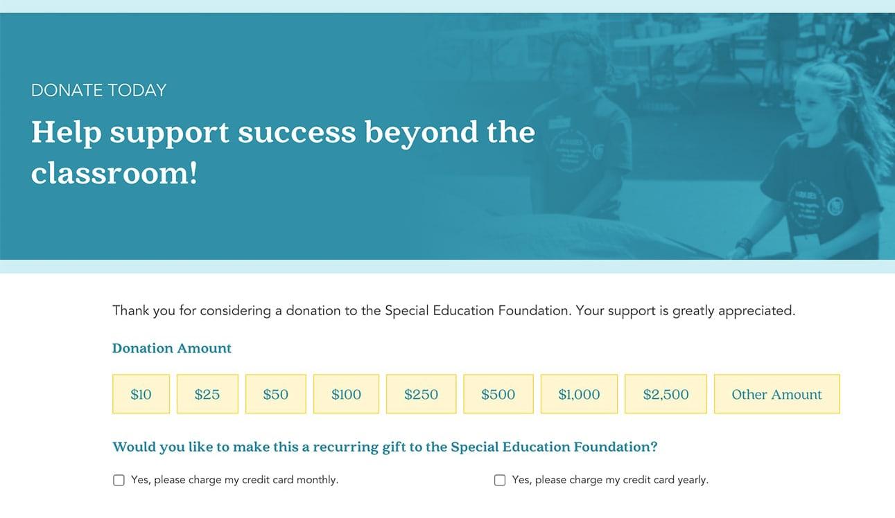 Nonprofit website donation form