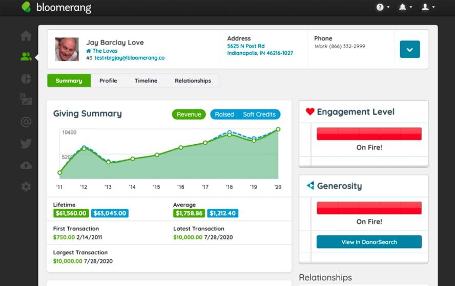 Donor database dashboard on Bloomerang
