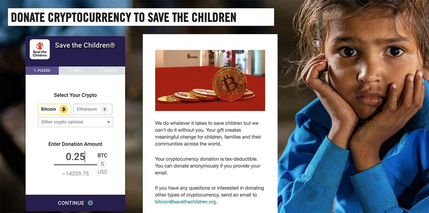 Donation page on Save the Children for Bitcoin
