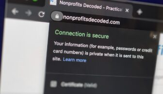 Example of security certificate (SSL) on website