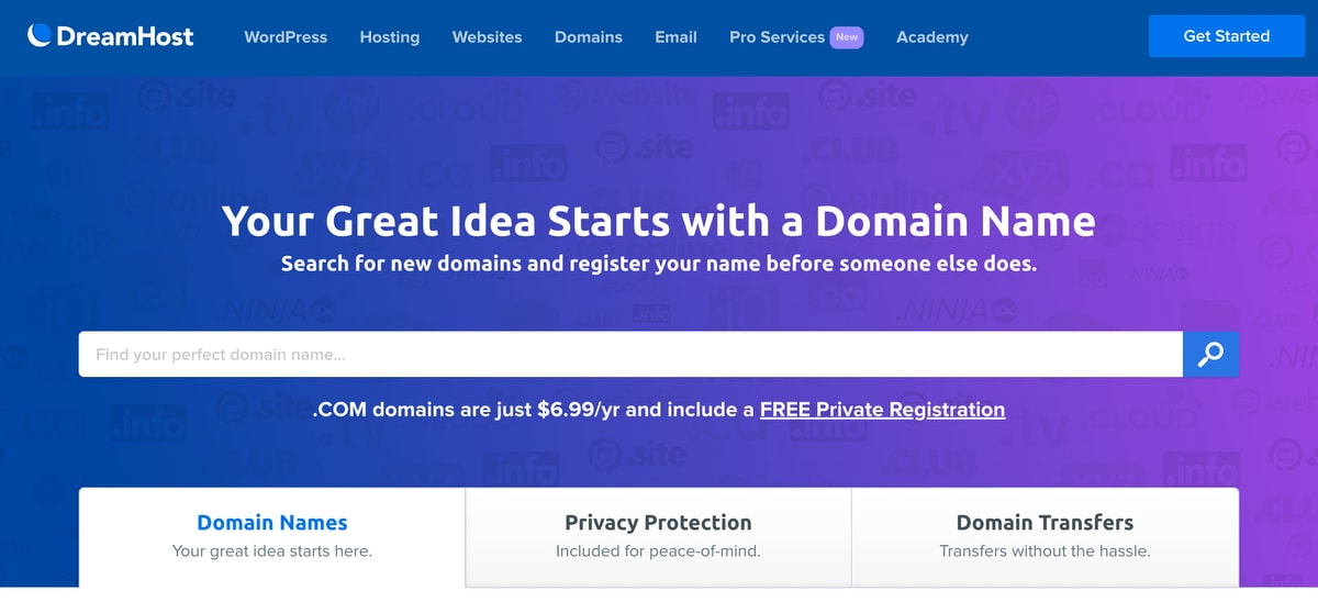 Dreamhost offers domain registration as well as web hosting.