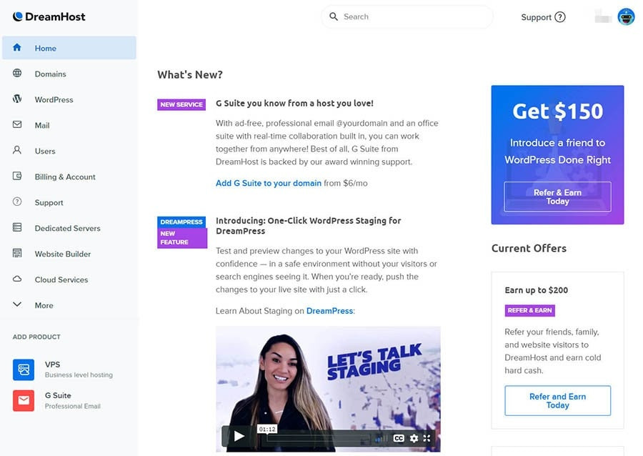 Dreamhost panel for website management