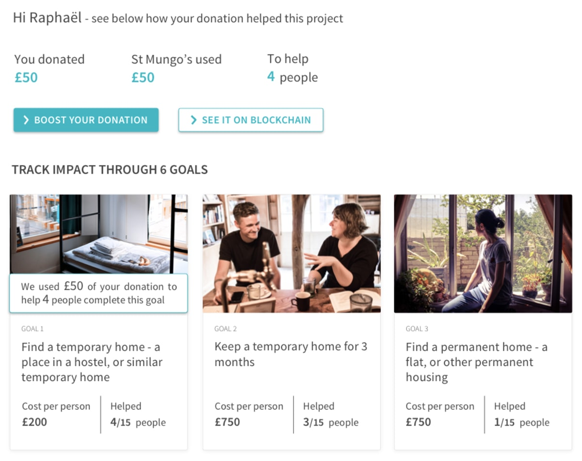 Example of blockchain being used for donation tracking.