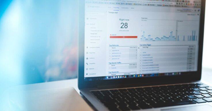 website analytics via google analytics dashboard