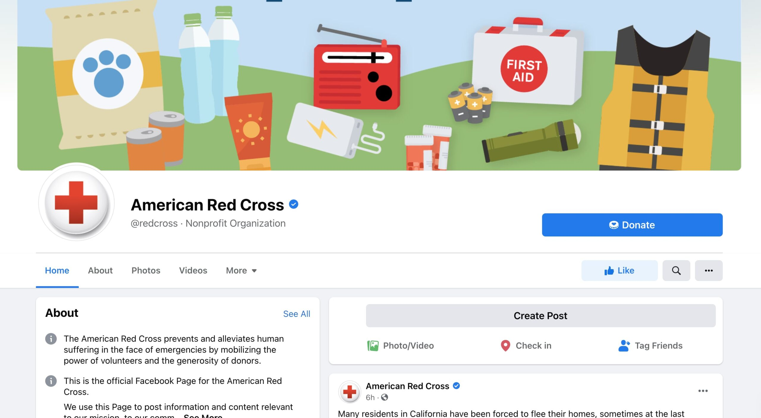 Example of Facebook donate button on the American Red Cross page